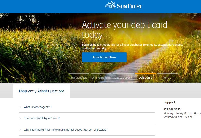 suntrust debit card activation process online