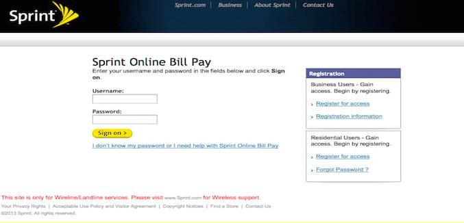 Sprint Online Bill Pay